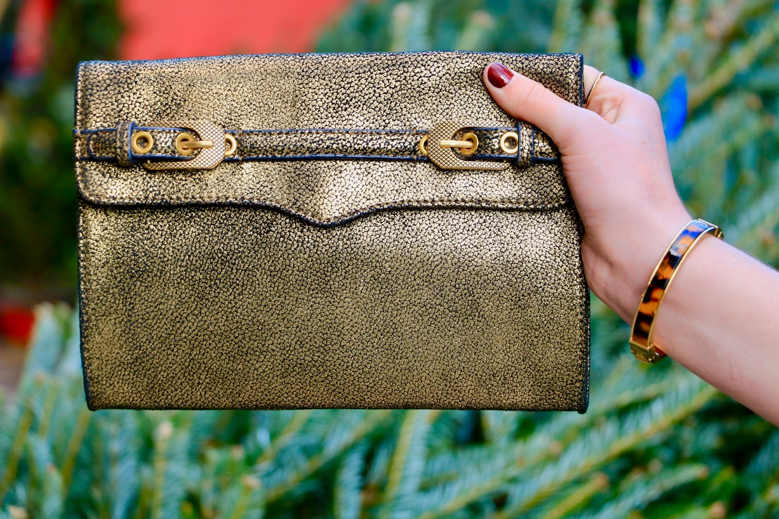 rebecca minkoff gold clutch pic