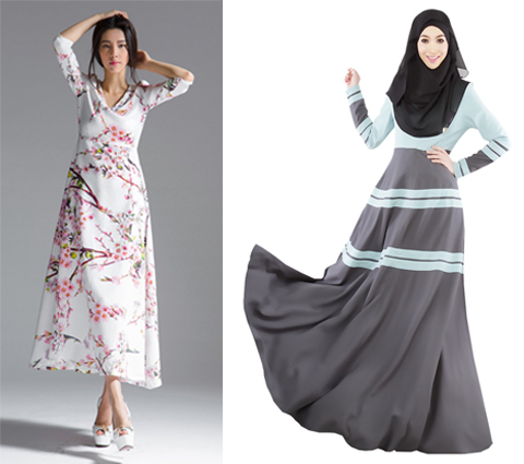 gambar model baju long dress