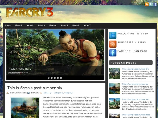 Farcry 3 Blogger Template