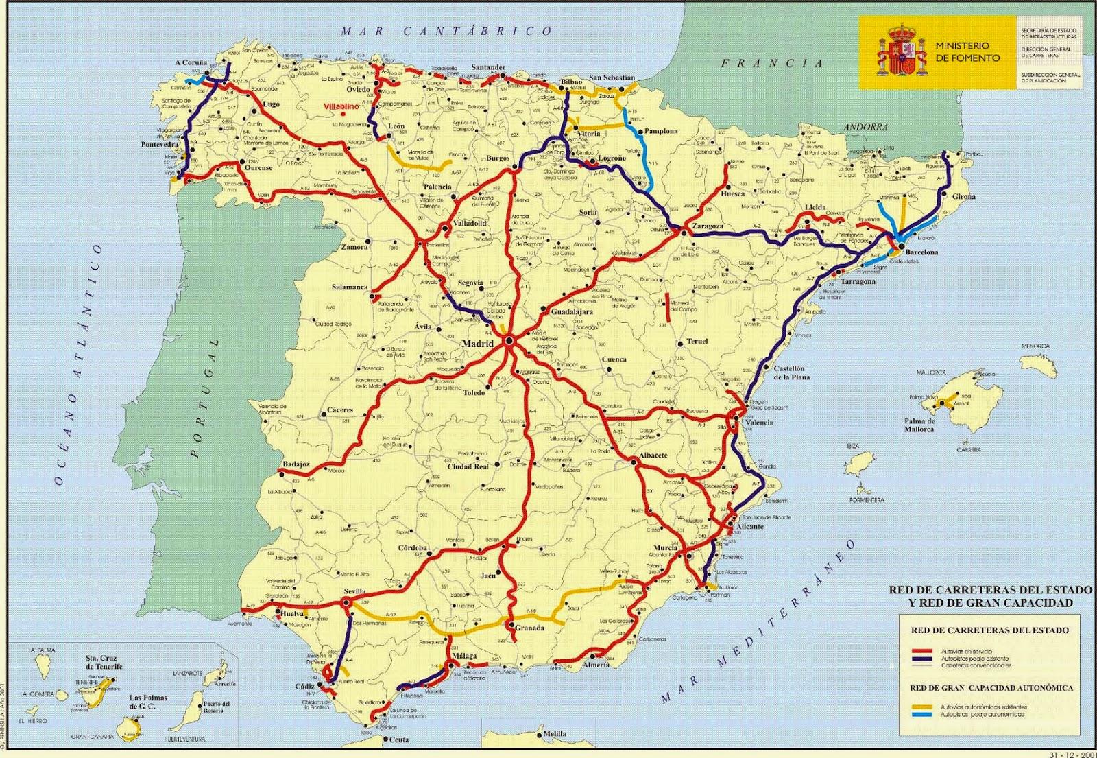 Mapa De España Carreteras.Conectandoeduca Comentario Del Mapa De La Red De Carreteras