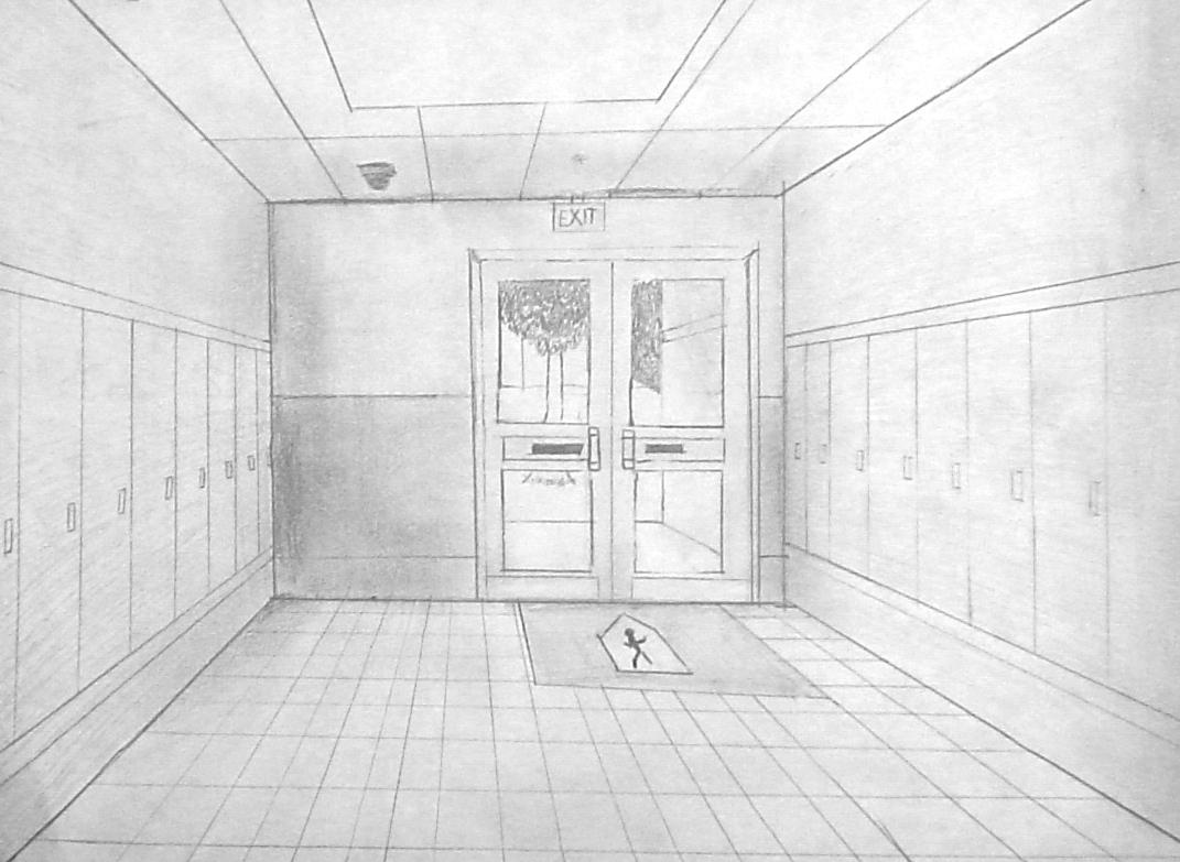school hallway drawing - HD1071×783