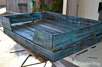 Great Then I immersed a clean staining sponge in water and used turquoise paint to paint over the stain Use a light hand until you get the distressed look you