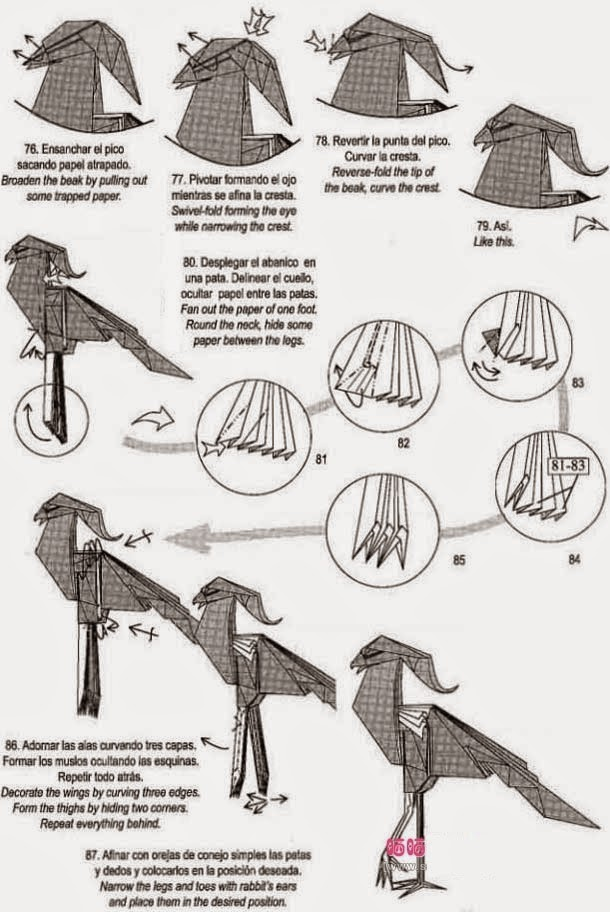 origami eagle instructions diagram act 10 keypad wiring 3d for kids