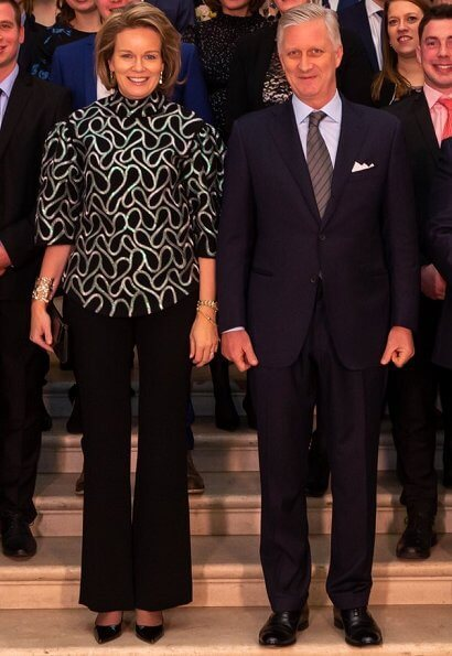 Queen Mathilde held a dinner at Laeken for young farmers active in traditional and organic farming. Natan blouse
