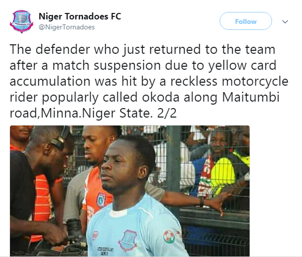 Reckless Okada Rider Crushes Footballer To Death 2months After his Wedding (Photos)