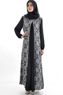 Gamis Blazer Batik Kombinasi Sifon