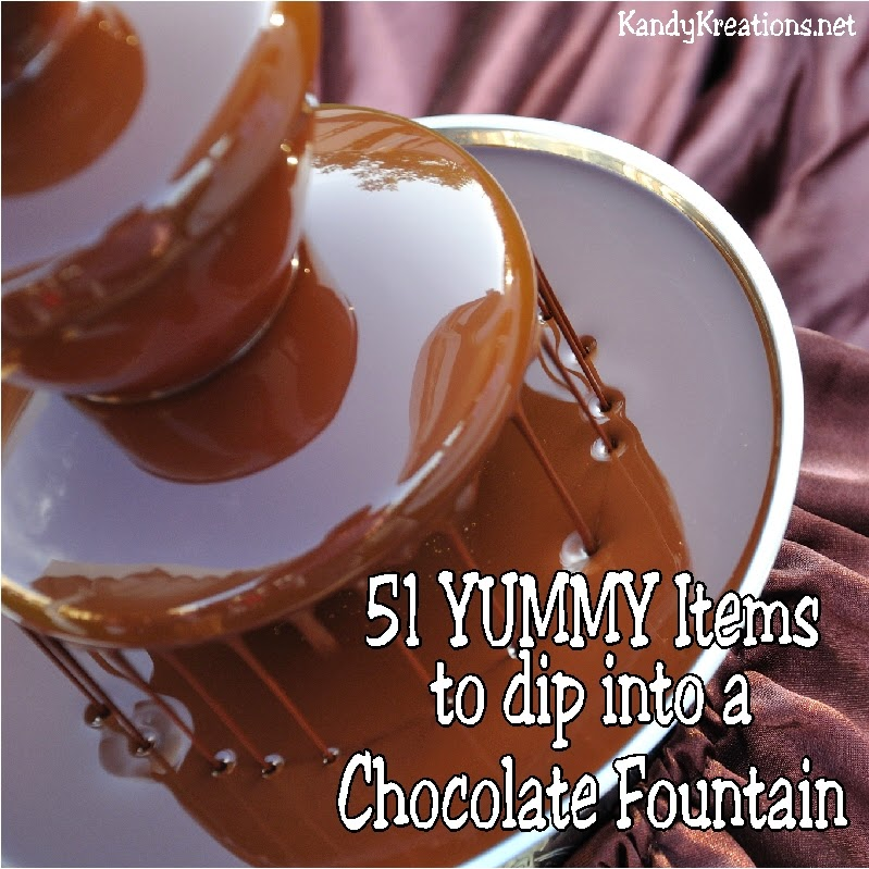 If you really want to WOW the guests at your next party, go with a Chocolate Fountain on your dessert table.  There are so many ideas on yummy items to dip in to your Chocolate fountain that the sky is the limit. Here are 51 Yummy ideas to get you started.