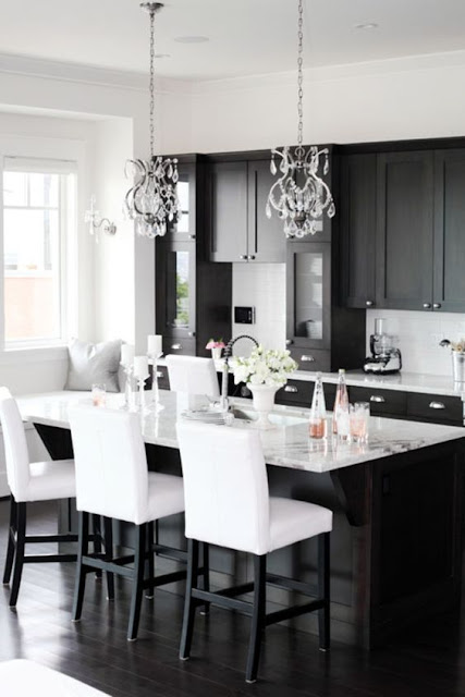 Black Kitchen Cabinets with white countertops and chandeliers :: OrganizingMadeFun.com
