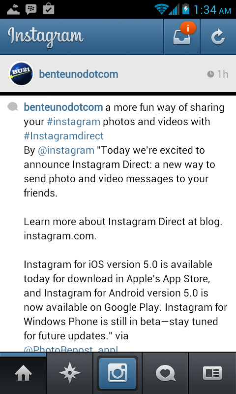 New on Instagram: Instagram Direct - BENTEUNO COM