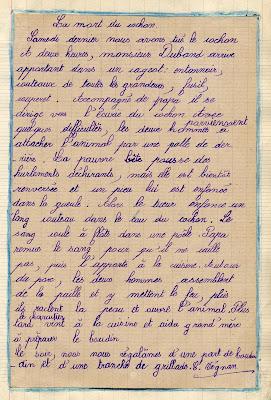 Cahier de roulement fait sur un cahier spécial de devoirs mensuels de cours supérieur, élève V. C., (collection musée)