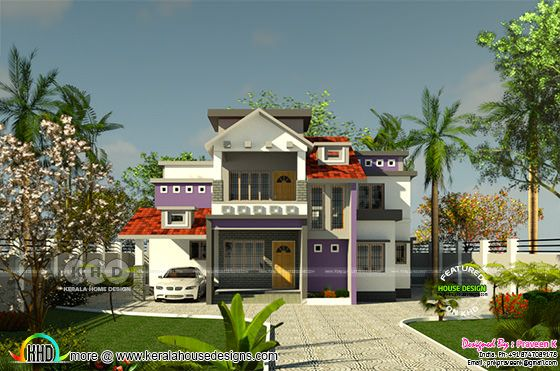 Front Elevation of Mixed roof purple toned Kerala home