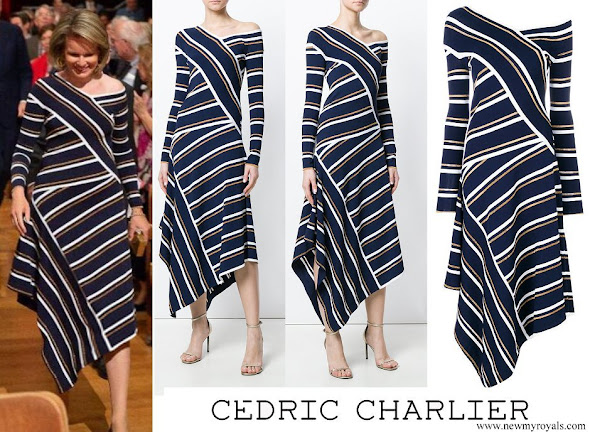 Queen Mathilde wore CEDRIC CHARLIER Asymmetric Striped Metallic Knitted Midi Dress