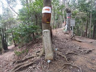 ハイキングコースの分岐にに立つ石標案内