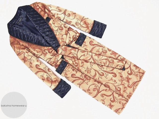 mens paisley silk dressing gown blue gold quilted lined robe smoking jacket full length