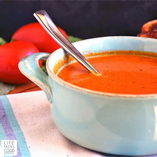 Tomato Basil Soup | by Life Tastes Good is the tomato soup recipe of my dreams! Yes, I dream about delicious tomato basil soup! Fresh roasted vegetables and herbs. Healthy, delicious, and easy to make too!