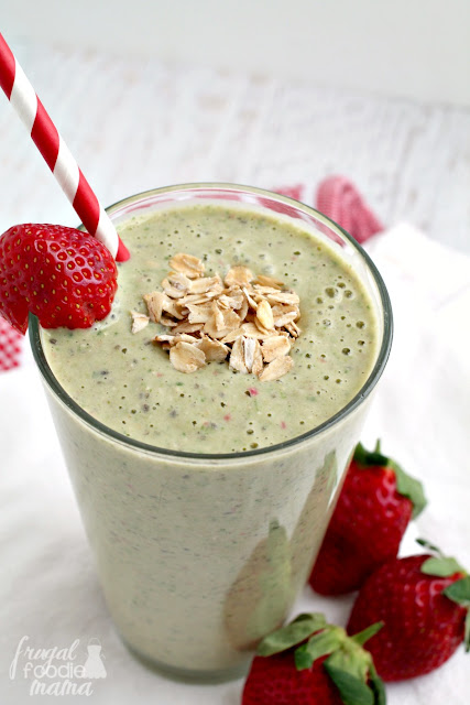 Enjoy all the deliciousness of a peanut butter & jelly sandwich in this creamy & healthy PB&J Green Smoothie.