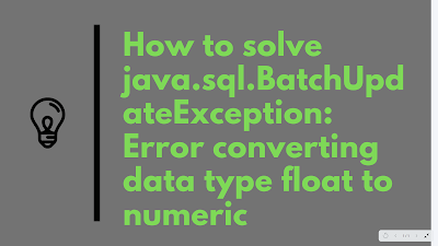 java.sql.BatchUpdateException: Error converting data type float to numeric