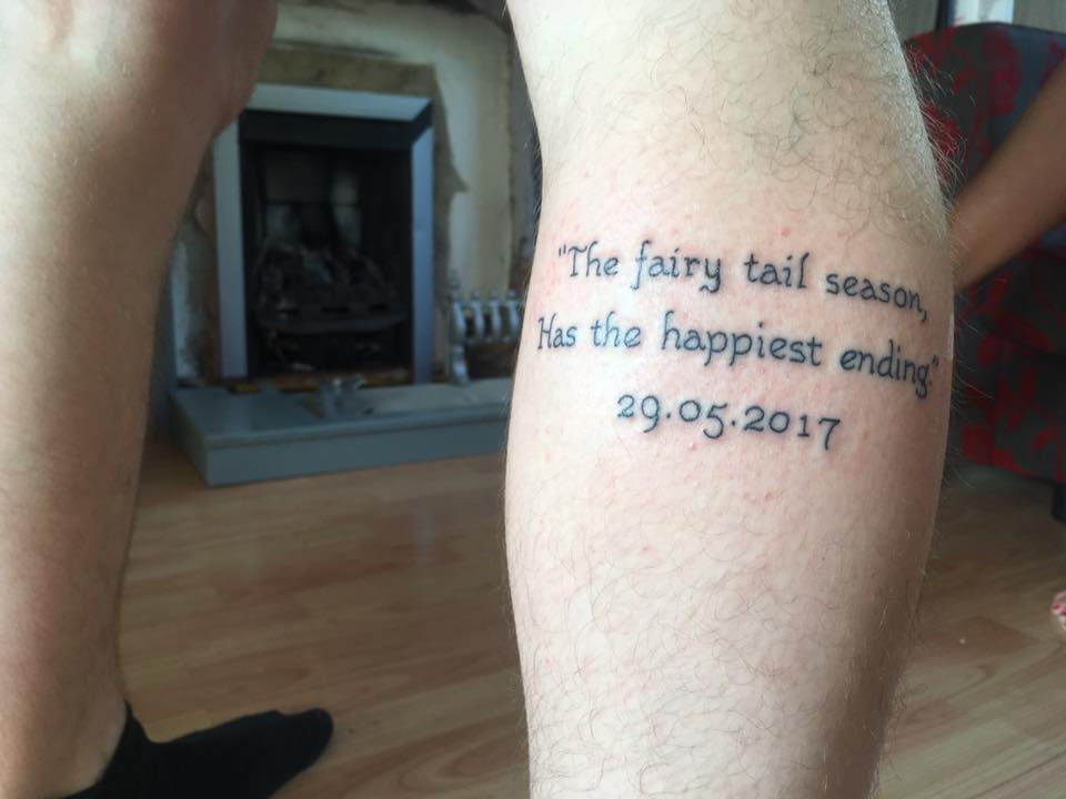 Huddersfield fan Calum Harris with his misspelled promotion tattoo