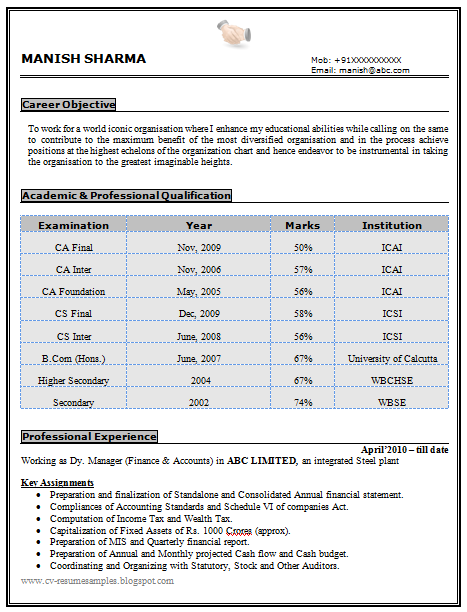experienced chartered accountant amp company secretary resume sample doc