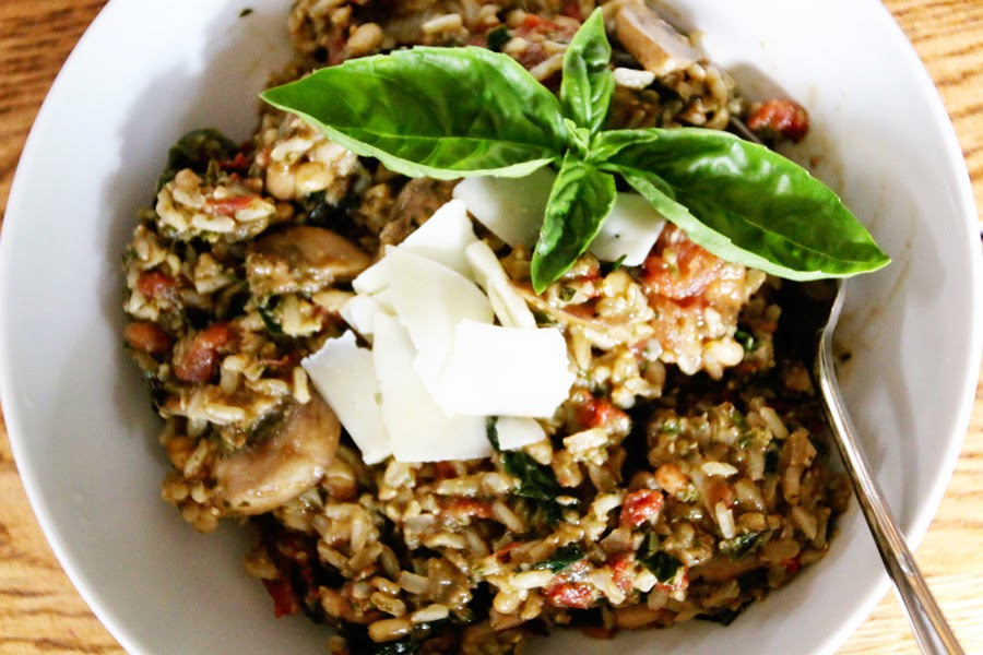 Pesto and Sun-Dried Tomato Jasmine Rice