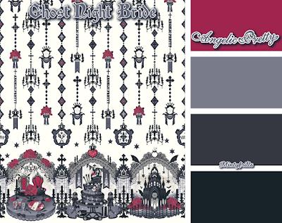 Angelic Pretty, Ghost Night Bride, new release, lolita fashion, print, palette, mintyfrills