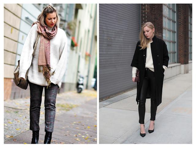 Образы со свитером оверсайз и узкими брюками