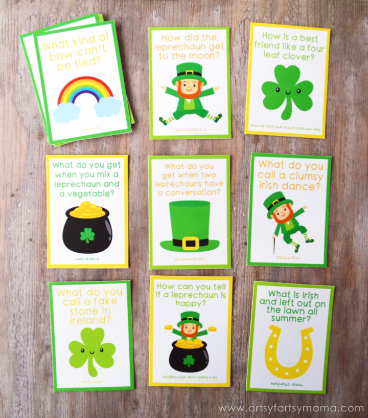 Free Printable St. Patrick's Day Lunch Box Jokes at artsyfartsymama.com