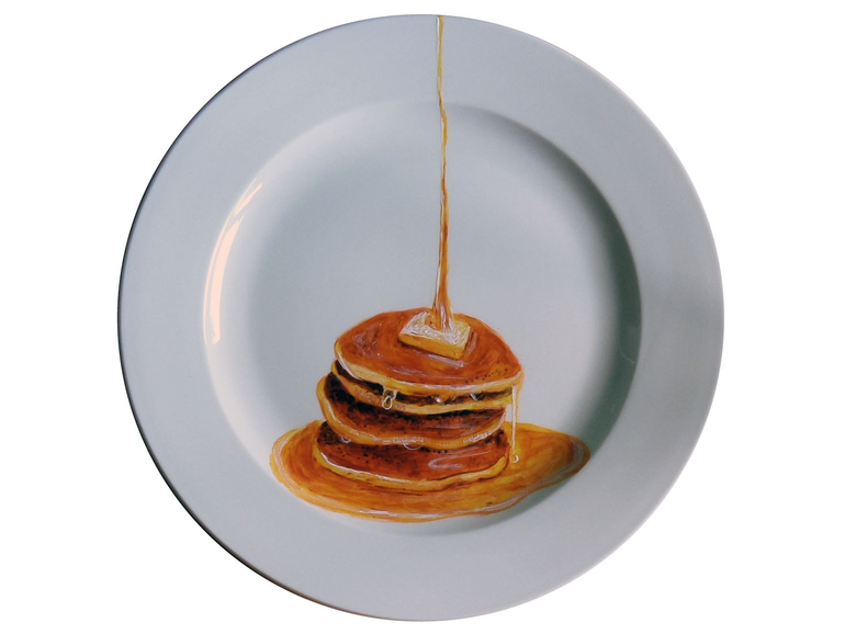 01-Pancakes-Jacqueline-Poirier-Thecrazyplatelady-Painting-Art-and-using-a-Plate-as-Canvas-www-designstack-co
