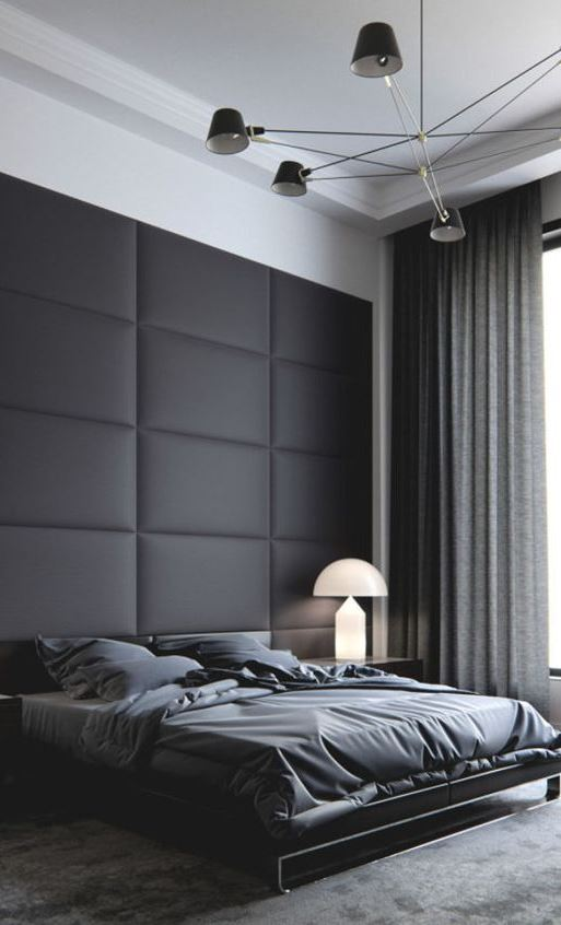 dark modern bedroom design idea