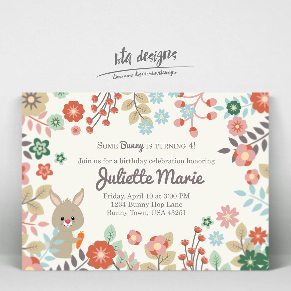 Bunny Birthday Invitations 1