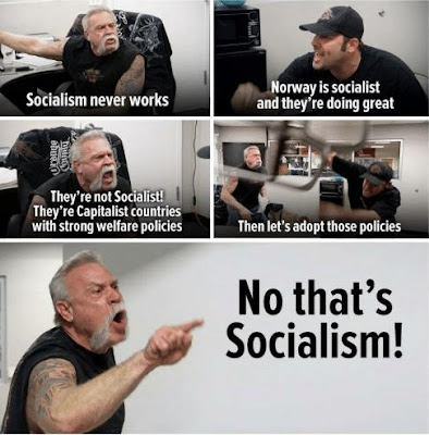 Cartoon that illustrates how conservatives react to the facts about socialism