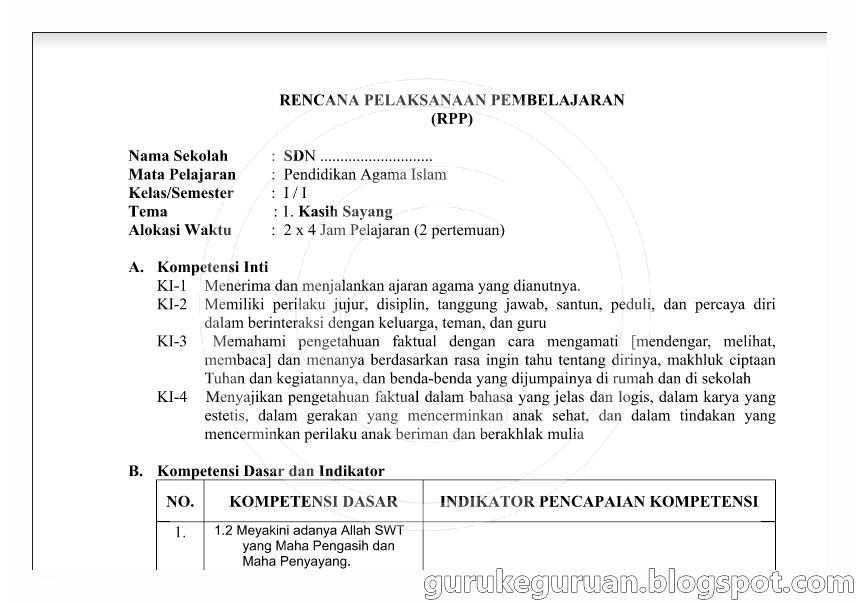 Rpp Pai Sd Kelas1 6 Kurikulum 2013 Dan Ktsp 2006 Contoh Berkas Guru