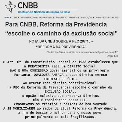 Resultado de imagem para cnbb contra a reforma da previdência
