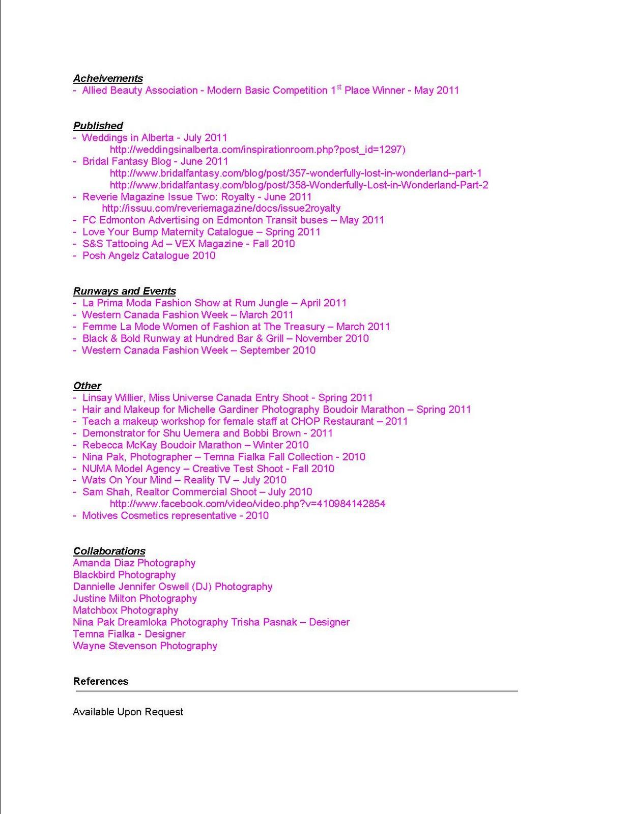 How To Make A Makeup Artist Resume Resume Sample