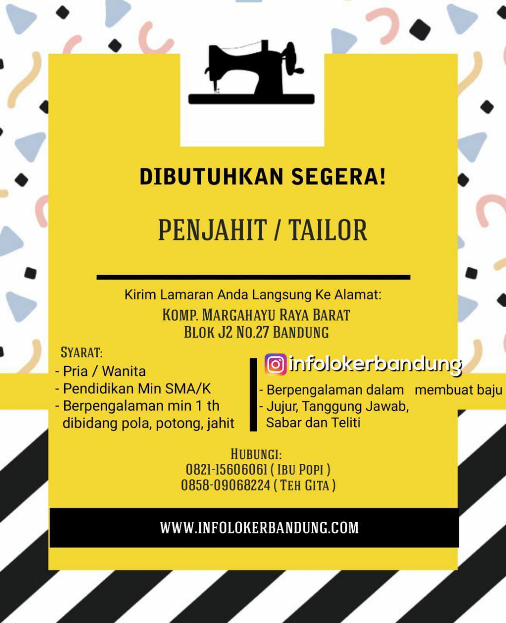 Lowongan Kerja Penjahit ( Tailor ) Perusahaan Konveksi Bandung Juli 2018