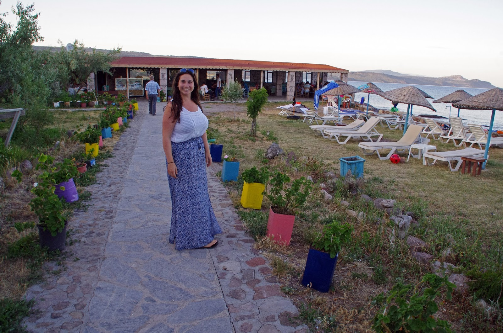 Simone at restaurant in Assos Turkey