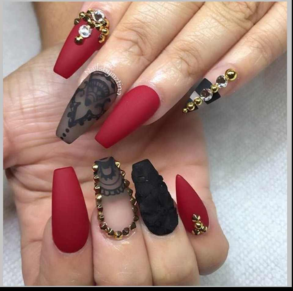 Red and black nail ideas gallery urmus Images