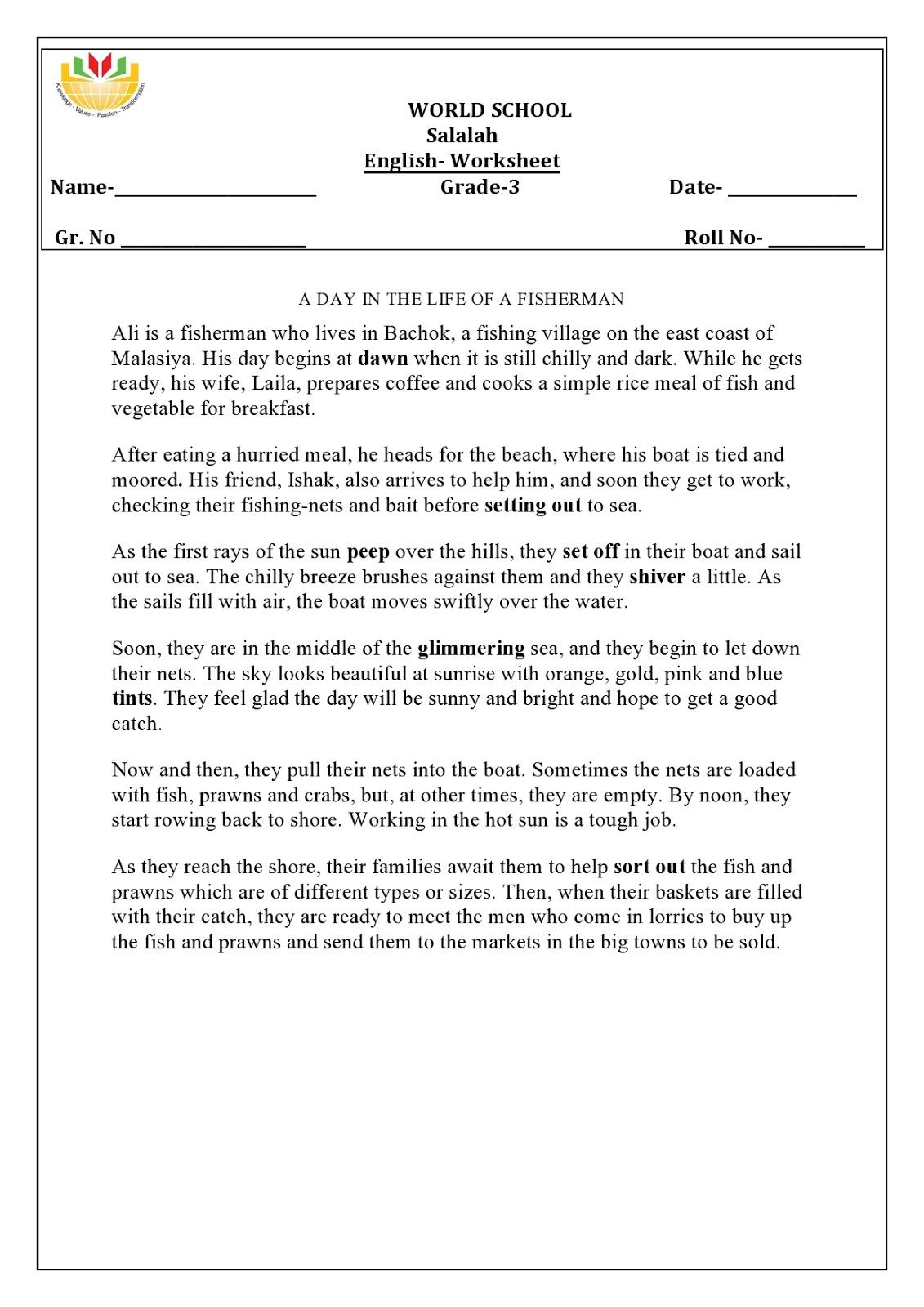 Birla World School Oman: Homework for Grade 3 as on 08/03/2018