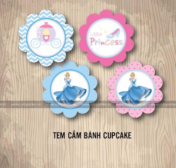 Tem cam banh cupcake sinh nhat theo chu de Cong chua Lo Lem