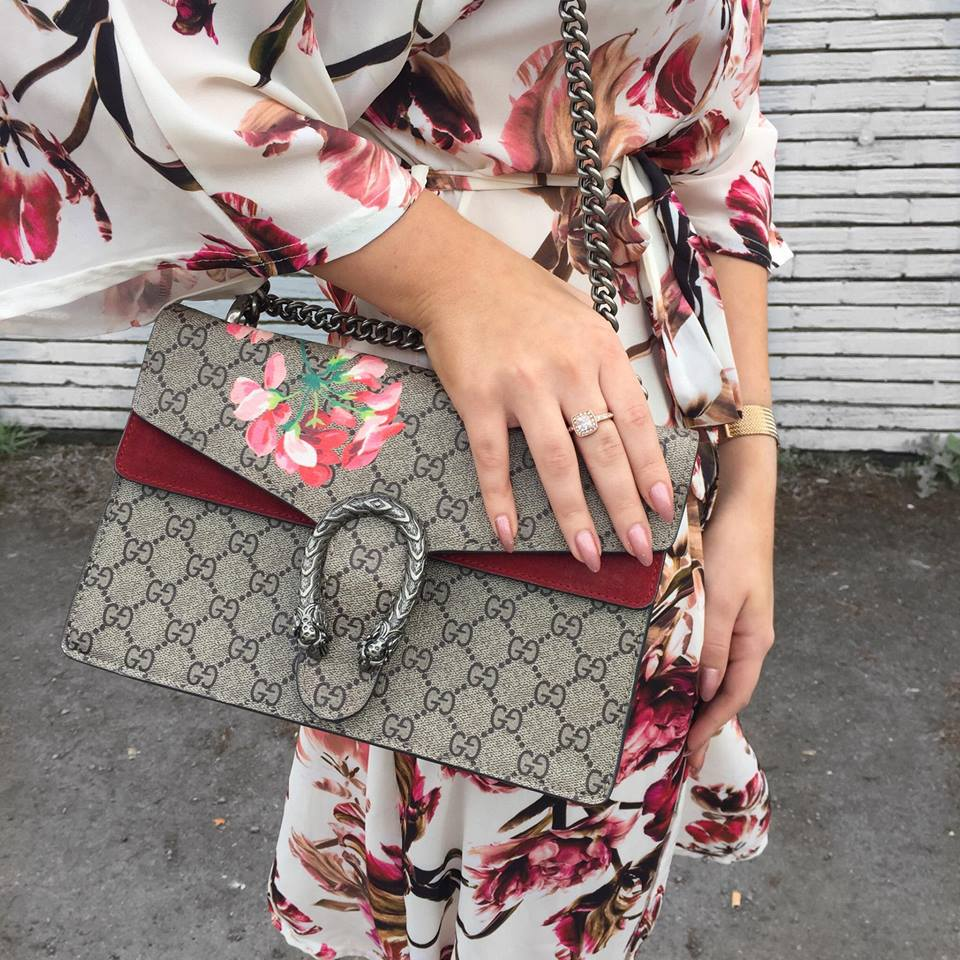 FASHION || IKRUSH online fashion brand collaboration featuring floral Kimono and Gucci handbag.