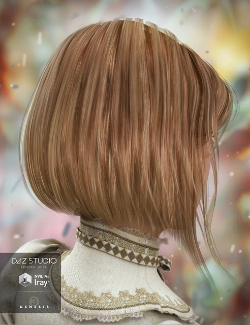 Razor-Cut Bob Hair for Genesis 3 Female