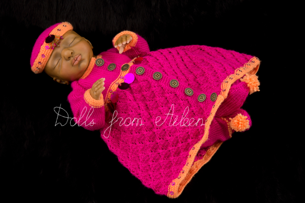 OOAK Hand Sculpted Sleeping Indian Baby Girl Doll Wearing Mughal Dress