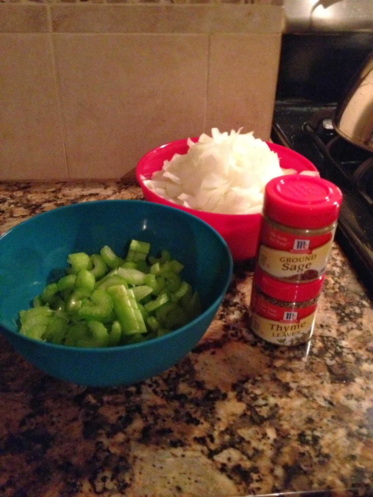Cornbread Stuffing Ingredients for Thanksgiving Onions Celery Sage Thyme
