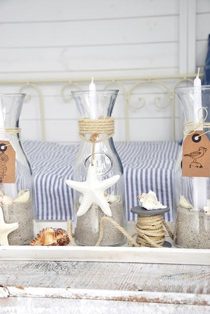 Strandhochzeit - Dekoidee mit Kerzen