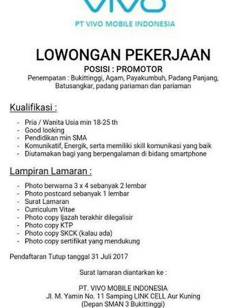 Lowongan Kerja PT. Vivo Mobile Indonesia (Ditutup 31 Juli 2017)