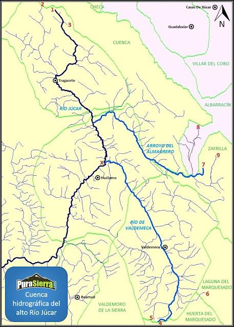 Mapa de la cuenca hidrográfica del alto Río Júcar