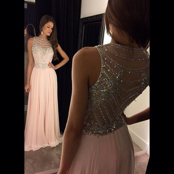 Pink Scoop Neck Chiffon Tulle with Crystal Detailing Modern Prom Dress