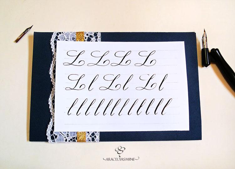 """Caligrafía copperplate, ¿cómo escribir la letra""""L""""?"""