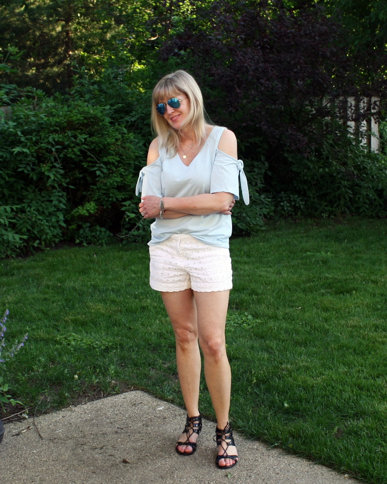 Cold Shoulder Top + White Eyelet Shorts