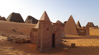 The pyramids have decorative elements designed by Pharaonic Egypt